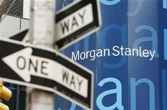A street sign stands near the Morgan Stanley worldwide headquarters building in New York May 8, 2009. REUTERS/Lucas Jackson
