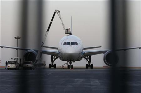 A mechanic of All Nippon Airways (ANA) Boeing Co's 787 Dreamliner plane is seen through a steel fence at Haneda airport in Tokyo January 16, 2013. REUTERS/Toru Hanai (JAPAN - Tags: TRANSPORT BUSINESS)