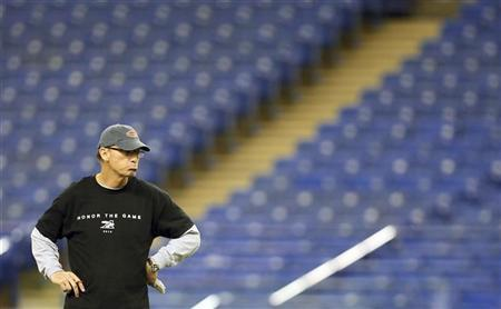 Montreal Alouettes' head coach Marc Trestman watches practice in Montreal, November 16, 2012. REUTERS/Christinne Muschi