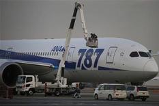Механики авиакомпании All Nippon Airways обслуживают самолет Boeing 787 Dreamliner в аэропорту Ханеда в Токио 16 января 2013 года. Две крупнейшие японские авиакомпании временно отказались от использования новейших лайнеров Boeing 787 после того, как один из них совершил вынужденную посадку, вызвав новые опасения относительно безопасности этого типа машин. REUTERS/Toru Hanai