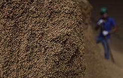 Imagen de archivo de una cosecha de granos de soja en Sorriso, Brasil, sep 27 2012. La actividad económica en Brasil se expandió más de lo esperado en noviembre, pero mantuvo el ritmo del mes previo, en el más reciente indicio de que la recuperación de la mayor economía de América Latina tiene dificultades para acelerar el paso. REUTERS/Nacho Doce