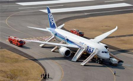 An All Nippon Airways (ANA) Boeing 787 Dreamliner is seen after making an emergency landing at Takamatsu airport in western Japan January 16, 2013, in this photo taken by Kyodo. REUTERS/Kyodo