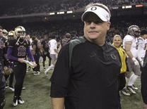 Oregon Ducks head coach Chip Kelly is seen after his team defeated the Washington Huskies 34-17 in their NCAA football game in Seattle, Washington, November 5, 2011. REUTERS/Marcus Donner