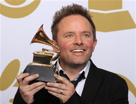 Chris Tomlin poses backstage after winning Best Contemporary Christian Music Album at the 54th annual Grammy Awards in Los Angeles, California February 12, 2012. REUTERS/Lucy Nicholson