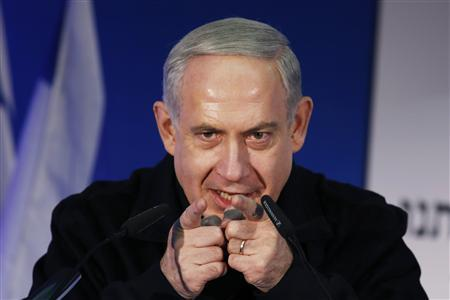 Israel's Prime Minister Benjamin Netanyahu speaks during a Likud-Yisrael Beitenu campaign rally in the southern city of Ashdod January 16, 2013. REUTERS/Amir Cohen