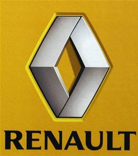 The logo of French car manufacturer Renault is seen during the presentation of the company's annual results for 2007 at the French manufacturer's Boulogne-Billancourt headquarters, near Paris, February 14, 2008. REUTERS/Vincent Kessler