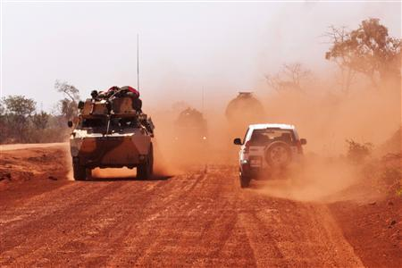 French troops drive to Segou January 16, 2013. REUTERS/Francois Rihouay