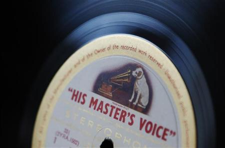 A vinyl record bearing the logo of label ''His Master's Voice'' is seen at the Classic-Choice dealership of rare previously owned classical LP's in London January 15, 2013. REUTERS/Luke MacGregor