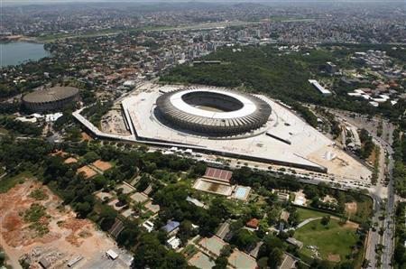 A general view of the Mineirao Stadium as construction continues in preparation for the 2013 Confederations Cup soccer tournament, in Belo Horizonte December 7, 2012. REUTERS/Washington Alves