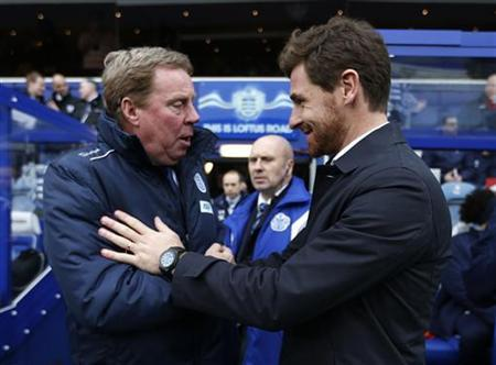 Queens Park Rangers manager Harry Redknapp (L) greets Tottenham Hotspur's manager Andre Villas-Boas before their English Premier League soccer match at Loftus Road in London January 12, 2013. REUTERS/Eddie Keogh