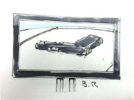 A picture of a handgun is shown in courtroom sketch from a preliminary hearing of Colorado shooting suspect James Holmes in Centennial, Colorado January 9, 2013. REUTERS/Bill Robles