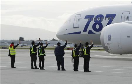 Grounds crew wave at an All Nippon Airways Boeing 787 Dreamliner as it departs San Jose International Airport for Tokyo in San Jose, California in this file photo taken January 11, 2013. REUTERS/Robert Galbraith/Files
