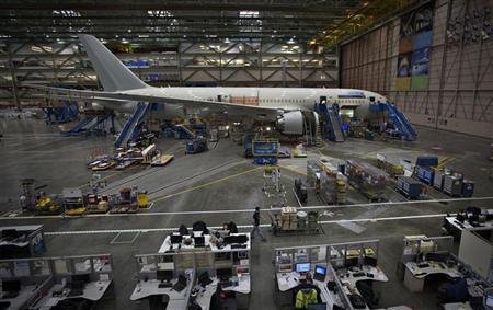File photo of a Boeing 787 on the assembly line at the company's operations in Everett, Washington, October 18, 2012. REUTERS/Andy Clark/Files.
