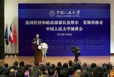 France's Finance Minister Pierre Moscovici delivers a speech in Renmin University during his visit in Beijing, January 8, 2013. REUTERS/China Daily (CHINA - Tags: POLITICS EDUCATION) CHINA OUT. NO COMMERCIAL OR EDITORIAL SALES IN CHINA