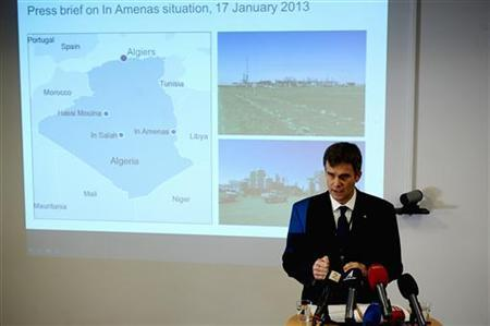 Helge Lund, chief executive of Norwegian energy company Statoil, answers questions about the situation in their gas plant in In Aminas, Algeria, during a news conference in Stavanger January 17, 2013 in this picture provided by NTB Scanpix. Statoil, which operates the gas field in a joint venture with Britain's BP and the Algerian state company Sonatrach, said nine of its Norwegian employees and three of its Algerian staff were being held hostage by a group of Islamist fighters who call themselves the ''Battalion of Blood''. The group was holding 41 foreign nationals, including Americans, Japanese and Europeans, at Tigantourine, deep in the Sahara. REUTERS/Kent Skibstad/NTB Scanpix (NORWAY - Tags: CIVIL UNREST CRIME LAW POLITICS ENERGY) NORWAY OUT. NO COMMERCIAL OR EDITORIAL SALES IN NORWAY. ATTENTION EDITORS – THIS IMAGE WAS PROVIDED BY A THIRD PARTY. FOR EDITORIAL USE ONLY. NOT FOR SALE FOR MARKETING OR ADVERTISING CAMPAIGNS. THIS PICTURE IS DISTRIBUTED EXACTLY AS RECEIVED BY REUTERS, AS A SERVICE TO CLIENTS