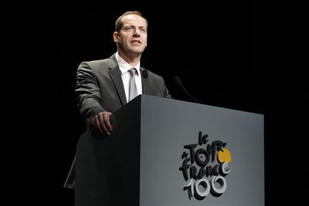 Tour de France director Christian Prudhomme presents the itinerary of the 2013 Tour de France cycling race during a news conference in Paris October 24, 2012. REUTERS/Benoit Tessier