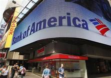 Bank of America a annoncé jeudi a enregistré une chute de son bénéfice au quatrième trimestre après avoir dû passer des charges plus importantes destinées à nettoyer un bilan affecté par des actifs immobiliers liés à la crise financière. La deuxième banque américaine a dégagé un bénéfice de 700 millions de dollars, contre 2 milliards un an auparavant. /Photo prise le 22 juin 2012/REUTERS/Brendan McDermid
