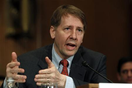 Consumer Financial Protection Bureau Director Richard Cordray testifies before a Senate Banking, Housing and Urban Affairs Committee hearing on ''Holding the CFPB Accountable: Review of First Semi-annual Report'' on Capitol Hill in Washington January 31, 2012. REUTERS/Kevin Lamarque