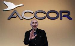 Le PDG d'Accor, Denis Hennequin. Le chiffre d'affaires du groupe hôtelier a progressé de 2,7% en 2012 en données comparables, tiré par l'activité dans les marchés émergents. /Photo d'archives/REUTERS/Jacky Naegelen