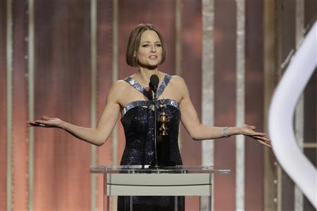 Actress Jodie Foster speaks as she accepts the Cecil B. Demille Award, on stage on at the Golden Globe Awards in Beverly Hills, California on January 13, 2013, in this picture provided by NBC. REUTERS/Paul Drinkwater/NBC/Handout