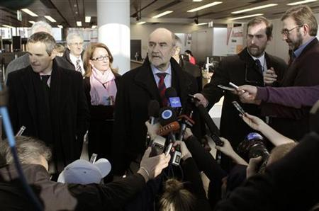Herman Nackaerts, head of a delegation of the International Atomic Energy Agency (IAEA), speaks to media before departing for Iran, at the airport in Vienna in this file photo taken January 15, 2013. REUTERS/Herwig Prammer