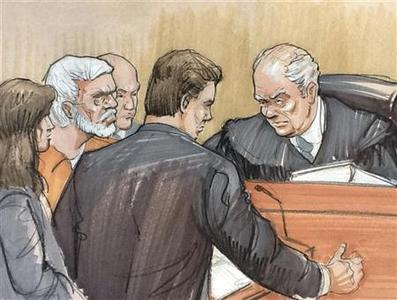 A courtroom artist's sketch shows (L to R) Tahawwur Rana in a white beard, looking on with his lawyer Patrick Blegen, prosecutor Daniel Collins and Judge Harry Leinenweber during a sentencing hearing in federal court in Chicago, Illinois January 17, 2013. REUTERS/Tom Gianni