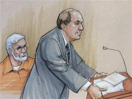 A courtroom artist's sketch shows Tahawwur Rana (L) looking on with his lawyer Patrick Blegen during a sentencing hearing in federal court in Chicago, Illinois January 17, 2013. REUTERS/Tom Gianni