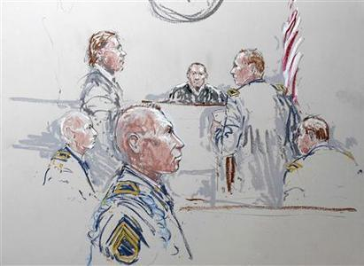 Army Staff Sergeant Robert Bales (3rd L), his attorney John Henry Browne (2nd L), Judge Col. Jeffery R. Nance (3rd R) and prosecutor Major Rob Stelle (2nd R) are seen in a courtroom sketch as he is arraigned on 16 counts of premeditated murder, six counts of attempted murder and seven of assault at Joint Base Lewis-McChord, Washington January 17, 2013. REUTERS/Peter Millett