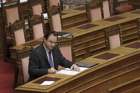 Greece's former Finance minister George Papaconstantinou attends a parliament session in Athens January 17, 2013. REUTERS/Icon/Giannis Liakos