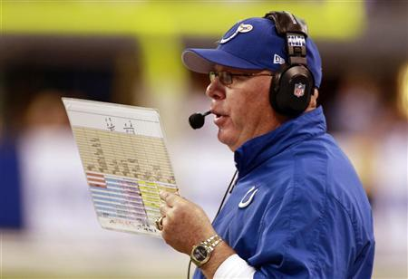Indianapolis Colts interim head coach Bruce Arians reads from his play sheet as he talks into his headset against the Miami Dolphins during the fourth quarter of an NFL football game in Indianapolis, Indiana November 4, 2012. REUTERS/Brent Smith