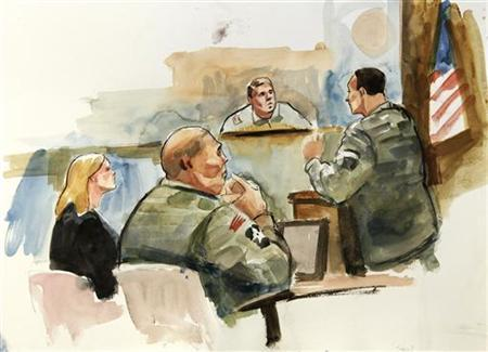 This courtroom artist's sketch shows Staff Sgt. Robert Bales (2nd L), his civilian defense attorney Emma Scanlan (L) and presiding investigation officer Col. Lee Demecky (C) listening to prosecuting military attorney Maj. Rob Stelle (R) give his closing argument during the final day of the Article-32 proceedings for Staff Sgt. Robert Bales at Joint Base Lewis-McChord November 13, 2012. REUTERS/Lois Silver