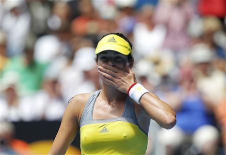 Ana Ivanovic of Serbia blows kisses to the crowd after defeating compatriot Jelena Jankovic in their women's singles match at the Australian Open tennis tournament in Melbourne January 18, 2013. REUTERS/Damir Sagolj