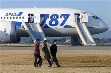 Passengers walk away from All Nippon Airways' (ANA) Boeing Co's 787 Dreamliner plane which made an emergency landing at Takamatsu airport, western Japan, as seen in this photo taken by a passenger and distributed by Japan's Kyodo January 16, 2013. REUTERS/Kyodo