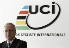 Le président de l'Union cycliste internationale, Pat McQuaid. L'UCI se déclare favorable à ce que Lance Armstrong, qui a reconnu jeudi avoir eu recours à des pratiques dopantes au cours de sa carrière, puisse participer à une commission vérité et réconciliation dans les prochains mois. Pour l'heure, cette commission qui pourrait garantir à tous les cyclistes avouant s'être dopés une amnistie partielle n'existe pas et l'UCI n'a pas le pouvoir d'en créer une. /Photo prise le 13 décembre 2012/REUTERS/Denis Balibouse