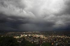 Monsoon clouds loom over the Kathmandu skyline, August 12, 2012. The monsoon season in Nepal typically last from June to August. REUTERS/Navesh Chitrakar