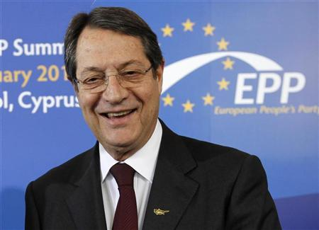 Cyprus' presidential race's forerunner and president of the right-wing Democratic Rally party Nicos Anastasiades looks on before the meeting of European People's Party (EPP) summit in the Cypriot town of Limassol January 11, 2013. REUTERS/Jamal Saidi