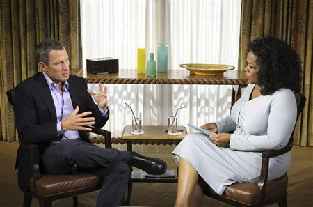 Cyclist Lance Armstrong is interviewed by Oprah Winfrey in Austin, Texas, in this January 14, 2013 handout photo courtesy of Harpo Studios. REUTERS/Harpo Studios, Inc/George Burns/Handout
