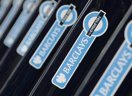 Bicycles for hire sponsored by Barclays are seen lined up at a cycle rack in London August 2, 2011. REUTERS/Luke MacGregor/Files