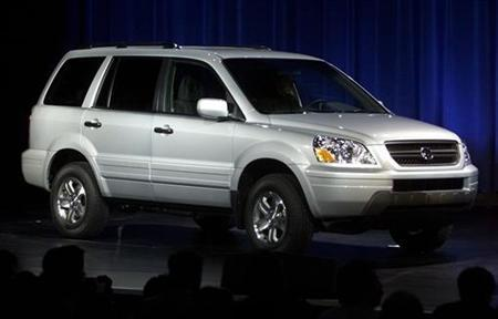 A ''production ready'' version of the Honda Pilot is shown at its debut at the New York International Auto Show on March 27, 2002.