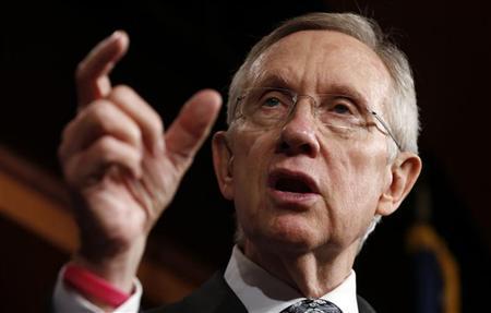 U.S. Senate Majority Leader Harry Reid speaks to reporters in the Capitol in Washington December 13, 2012. REUTERS/Kevin Lamarque