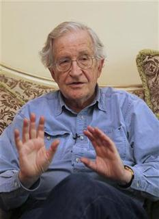 Noam Chomsky, a leading American intellectual, gestures in Amman in this file photo taken May 17, 2010. REUTERS/Majed Jaber