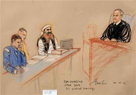 Khalid Sheikh Mohammed, (2nd R) the alleged mastermind of the September 11 attacks, addresses the judge during the third day of pre-trial hearings in the 9/11 war crimes prosecution as depicted in this Pentagon-approved courtroom sketch at the U.S. Naval Base Guantanamo Bay, Cuba, October 17, 2012. REUTERS/Janet Hamlin