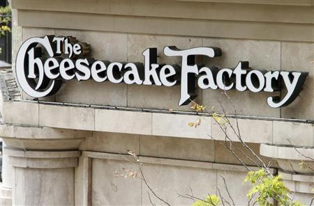 A sign for The Cheesecake Factory restaurant is pictured in Glendale, California April 19, 2011. REUTERS/Fred Prouser