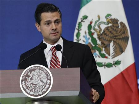 Mexico's President Enrique Pena Nieto delivers a speech during the inauguration ceremony of the Forum Mexico 2013: REUTERS/Henry Romero