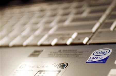 The Intel logo is seen on a computer in New York May 13, 2009. REUTERS/Shannon Stapleton/Files