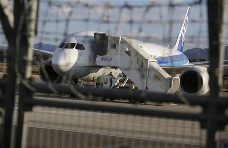The All Nippon Airways' (ANA) Boeing Co's 787 Dreamliner plane which made an emergency landing on Wednesday, is seen at Takamatsu airport in Takamatsu, western Japan January 18, 2013. REUTERS/Issei Kato