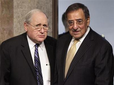 U.S. Secretary of Defense Leon Panetta (R) and Senate Armed Services Committee Chairman Carl Levin (D-MI) arrive at the Senate Armed Services Committee hearing on the Defense Authorization Request for Fiscal Year 2013 and the Future Years Defense Program on Capitol Hill in Washington February 14, 2012. REUTERS/Yuri Gripas