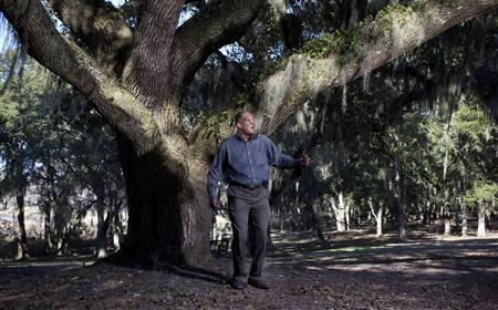 Gullah Geechee Cultural Heritage Corridor Commission Chairman Ronald Daise, a Gullah Geechee storyteller and historian, poses for a picture in Pawleys Island, South Carolina. Daise said racial prejudice from outsiders, as well as a desire by Gullah parents for their children to speak standard English in order to succeed, drastically reduced the number of Gullah speakers. But over the last few decades, shame has been replaced by a building pride as Gullah culture has become more widely known and appreciated, he said. Picture taken January 16, 2013. REUTERS/Randall Hill