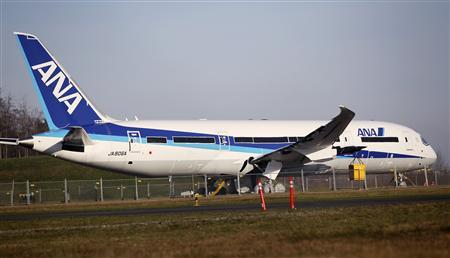 A 787 Dreamliner jet painted in All Nippon Airways (ANA) of Japan livery, sits idle on the tarmac parking at Paine Field in Everett, Washington, January 17, 2013. Airlines scrambled to rearrange flights as Europe, Japan, Qatar and India joined the United States in grounding Boeing Co's 787 Dreamliner passenger jets while battery-related problems are investigated. REUTERS/Anthony Bolante