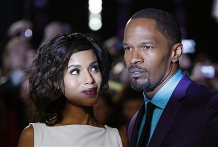 Actors Kerry Washington and Jamie Foxx at the UK premiere of Django Unchained in central London, January 10, 2013. REUTERS/Olivia Harris